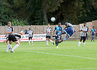 Adebayo Akinfenwa of Wycombe Wanderers  has an acrobatic header on goal during the Friendly match between Maidenhead United and Wycombe Wanderers at York Road, Maidenhead, England on 30 July 2016. Photo by Alan  Stanford PRiME Media Images.