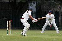 Hasnain of Barking is bowled out during Barking CC (batting) vs Hornchurch Athletic CC, Hamro Foundation Essex League Cricket at Mayesbrook Park on 31st July 2021