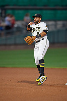 Jose Rojas (8) of the Salt Lake Bees during the game against the Oklahoma City Dodgers at Smith's Ballpark on July 31, 2019 in Salt Lake City, Utah. The Dodgers defeated the Bees 5-3. (Stephen Smith/Four Seam Images)
