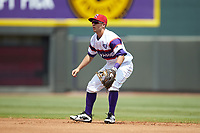 Winston-Salem Rayados second baseman Nick Madrigal (4) on defense against the Potomac Nationals at BB&T Ballpark on August 12, 2018 in Winston-Salem, North Carolina. The Rayados defeated the Nationals 6-3. (Brian Westerholt/Four Seam Images)