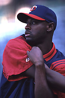 LaTroy Hawkins of the Minnesota Twins during a 2001 season MLB game at Angel Stadium in Anaheim, California. (Larry Goren/Four Seam Images)