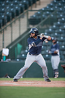 AZL Padres 2 catcher Luis Roman (4) at bat during an Arizona League game against the AZL Angels at Tempe Diablo Stadium on July 18, 2018 in Tempe, Arizona. The AZL Padres 2 defeated the AZL Angels 8-1. (Zachary Lucy/Four Seam Images)