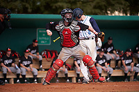 Edgewood Eagles Casey Seelow (35) throws down to second base as Greg Camarda (2) bats during the first game of a doubleheader against the Lasell Lasers on April 14, 2016 at Terry Park in Fort Myers, Florida.  Edgewood defeated Lasell 9-7.  (Mike Janes/Four Seam Images)