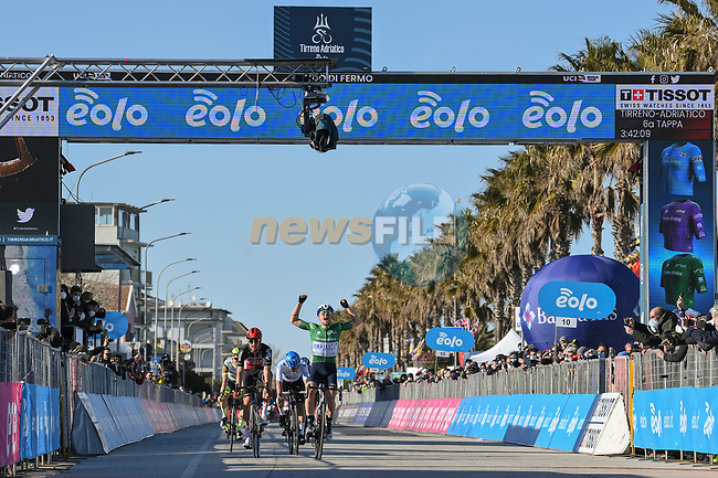 Mads Würtz Schmidt (DEN) Israel Start-Up Nation from the breakaway wins Stage 6 of Tirreno-Adriatico Eolo 2021, running 169km from Castelraimondo to Lido di Fermo, Italy. 15th March 2021. <br /> Photo: LaPresse/Gian Mattia D'Alberto | Cyclefile<br /> <br /> All photos usage must carry mandatory copyright credit (© Cyclefile | LaPresse/Gian Mattia D'Alberto)