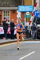 3rd October 2021; London, England: The Virgin Money 2021 London Marathon: Sinead Diver of Australia crossing Narrow Street Swing Bridge, Limehouse Basin between mile 14 and 15.