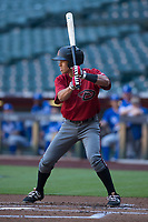 Gabriel Maciel (4) of the Arizona Diamondbacks at bat during an Instructional League game against the Kansas City Royals at Chase Field on October 14, 2017 in Phoenix, Arizona. (Zachary Lucy/Four Seam Images)