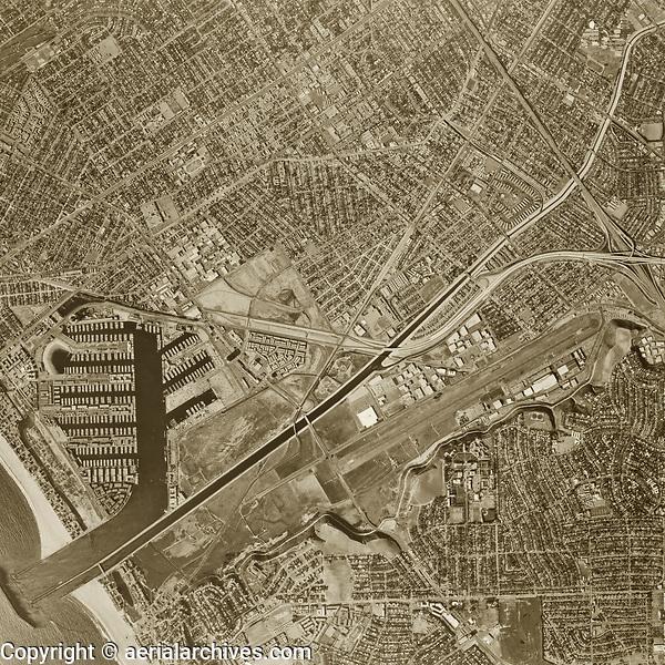 historical aerial photograph Marina Del Rey, Los Angeles, California, 1972