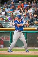 Corey Seager (18) of the Oklahoma City Dodgers at bat against the Salt Lake Bees in Pacific Coast League action at Smith's Ballpark on May 27, 2015 in Salt Lake City, Utah.  (Stephen Smith/Four Seam Images)