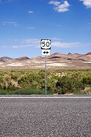 US 50 signpost near Westgate, Nevada. Known as the Loneliest Road the route followed by US 50 in Nevada was roughly the same as the Pony Express and the Lincoln Highway. Photographed 07/07