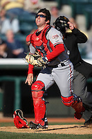 April 10, 2010:  Catcher Sean Rooney of the Harrisburg Senators during a game at Blair County Ballpark in Altoona, PA.  Harrisburg is the Double-A Eastern League affiliate of the Washington Nationals.  Photo By Mike Janes/Four Seam Images