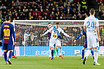 Thomas Vermaelen of barcelona (L) in action against Jose Luis Mato Sanmartin, Joselu, of RC Deportivo La Coruna (R) during the La Liga 2017-18 match between FC Barcelona and Deportivo La Coruna at Camp Nou Stadium on 17 December 2017 in Barcelona, Spain. Photo by Vicens Gimenez / Power Sport Images