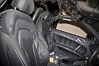 The remains of an Audi TT after being extinguished by Firefighters Warwickshire UK..©shoutpictures.com..john@shoutpictures.com