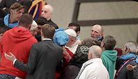 Francesco tiene un'udienza ai partecipanti al Giubileo delle Persone socialmente escluse, in aula Paolo VI, Citta' del Vaticano, 11 novembre 2016.<br /> Pope Francis attends a Jubilee audience with people socially excluded in Paul VI hall at the Vatican 11 November, 2016.<br /> UPDATE IMAGES PRESS/Isabella Bonotto<br /> <br /> STRICTLY ONLY FOR EDITORIAL USE