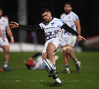 12th February 2021; Kingsholm Stadium, Gloucester, Gloucestershire, England; English Premiership Rugby, Gloucester versus Bristol Bears; Charles Piutau of Bristol Bears kicks the ball out to finish the match with Bristol Bears winning 17-18