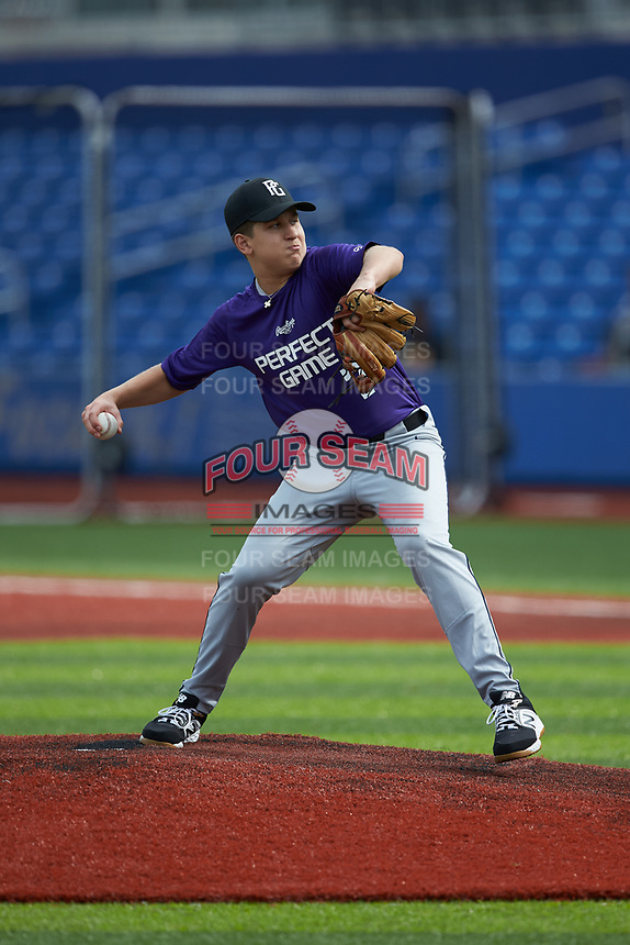 James Pedas (7) of Landon High School in McLean, VA during the Atlantic Coast Prospect Showcase hosted by Perfect Game at Truist Point on August 22, 2020 in High Point, NC. (Brian Westerholt/Four Seam Images)