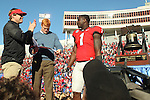 December 30, 2016: A happy Georgia Bulldogs head coach Kirby Smart reacting with a clap on stage, with running back Sony Michel (1) after winning the AutoZone Liberty Bowl at Liberty Bowl Memorial Stadium in Memphis, Tennessee. ©Justin Manning/Eclipse Sportswire/Cal Sport Media