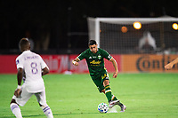 LAKE BUENA VISTA, FL - AUGUST 11: Marvin Loria #44 of the Portland Timbers kicks the ball during a game between Orlando City SC and Portland Timbers at ESPN Wide World of Sports on August 11, 2020 in Lake Buena Vista, Florida.