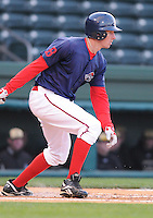 April 7, 2009: Mitch Dening of the Greenville Drive hits in a game against Wofford College on Tuesday, April 7, 2009, at Fluor Field in Greenville. Photo by:  Tom Priddy/Four Seam Images