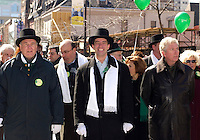 March 17, 2002, Montreal, Quebec, Canada; <br /> <br /> Paul martin, Canada's Finances Minister (L), Andre Boisclair, Quebec Minister (M) and Gilles Duceppe, Leader of the Bloc Quebecois (R) walk with participants during the 178th St-Patrick parade, March 17, 2002 in Montreal, Canada.<br /> <br /> The Montreal parade which was seen by approximatly 700 000 persons is one of the oldest and one of the biggest in North-America, with Boston and New York.<br /> <br /> <br /> <br /> <br /> <br /> <br /> <br /> <br /> (Mandatory Credit: Photo by Sevy - Images Distribution (©) Copyright 2002 by Sevy<br /> <br /> NOTE :  D-1 H original JPEG, saved as Adobe 1998 RGB