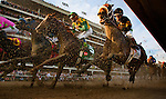 Louisville, KY- May 05:  Optimizer with Jon Court, Dullahan and Kent Desourmeaux race into the first turn of the Kentucky Derby at Churchill Downs in Louisville, KY on 05/04/12. (Alex Evers/ Eclipse Sportswire)