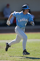 Garrett Gore (4) of the North Carolina Tar Heels hustles down the first base line versus the St. John's Red Storm at the 2008 Coca-Cola Classic at the Winthrop Ballpark in Rock Hill, SC, Sunday, March 2, 2008.