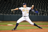 Montgomery Biscuits pitcher Jim Patterson (25) delivers a pitch during a game against the Mississippi Braves on April 21, 2014 at Riverwalk Stadium in Montgomery, Alabama.  Montgomery defeated Mississippi 6-2.  (Mike Janes/Four Seam Images)