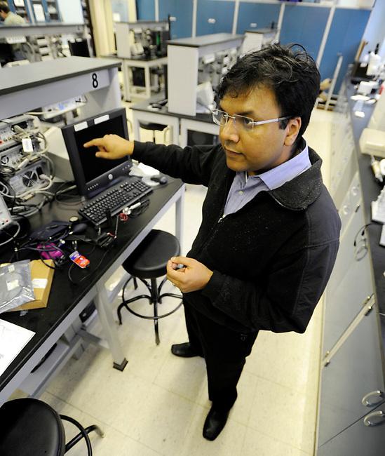 Penn State University Engineering Professor Khanjan Mehta in his lab on campus Wednesday, Dec. 1, 2010 in State College, Pa. (Bradley C Bower/KeyStone Edge)