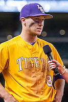 LSU Tigers shortstop Alex Bregman (8) is interviewed after LSU's Houston College Classic game against the Nebraska Cornhuskers on March 8, 2015 at Minute Maid Park in Houston, Texas. LSU defeated Nebraska 4-2. (Andrew Woolley/Four Seam Images)