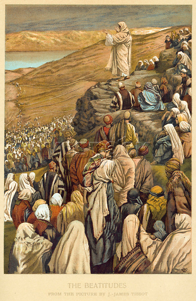 Jesus preaches the Sermon on the Mount     Date:      Source: James Tissot in The Sunday at home 1900