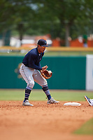 Mobile BayBears second baseman Jahmai Jones (15) fields a throw down on a stolen base during a Southern League game against the Montgomery Biscuits on May 2, 2019 at Riverwalk Stadium in Montgomery, Alabama.  Mobile defeated Montgomery 3-1.  (Mike Janes/Four Seam Images)