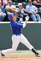 Cael Brockmeyer #33 of the Cal. St. Bakersfield Roadrunners bats against the UCLA Bruins at Jackie Robinson Stadium in Los Angeles,California on May 14, 2011. Photo by Larry Goren/Four Seam Images