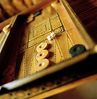 A traditional board game, Tavla, very similar to Backgammon, seen in Istanbul, Turkey