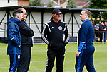 Burntisland Shipyard 0 Colville Park 7, 12/08/2017. The Recreation Ground, Scottish Cup First Preliminary Round. The two management teams chat before the game. Photo by Paul Thompson.