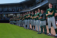 Siena Saints during the national anthem before a game against the UCF Knights on February 17, 2019 at John Euliano Park in Orlando, Florida.  UCF defeated Siena 7-1.  (Mike Janes/Four Seam Images)