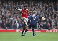 Arsenal's Pierre-Emerick Aubameyang holds off West Ham United's Jeremy Ngakia and Jarrod Bowen<br /> <br /> Photographer Rob Newell/CameraSport<br /> <br /> The Premier League - Arsenal v West Ham United - Saturday 7th March 2020 - The Emirates Stadium - London<br /> <br /> World Copyright © 2020 CameraSport. All rights reserved. 43 Linden Ave. Countesthorpe. Leicester. England. LE8 5PG - Tel: +44 (0) 116 277 4147 - admin@camerasport.com - www.camerasport.com