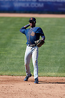 Bowling Green Hot Rods shortstop Lucius Fox (1) throws to first base during a game against the Beloit Snappers on May 7, 2017 at Pohlman Field in Beloit, Wisconsin.  Bowling Green defeated Beloit 6-2.  (Mike Janes/Four Seam Images)
