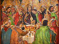 Gothic Altarpiece depicting the Last Supper (Sant Sopar) by Jaume Huguet, circa 1463 - 1475, Tempera and gold leaf on wood, from the convent of Sant Augusti Vell, Barcelona.  National Museum of Catalan Art, Barcelona, Spain, inv no: MNAC  40412.