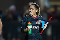 STANFORD, CA - November 21, 2014: Lo'eau LaBonta celebrates after the Stanford vs Arkansas women's second round NCAA soccer match in Stanford, California.  The Cardinal defeated the Razorbacks 1-0.