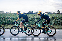 race favoutrite Wout van Aert (BEL/Jumbo - Visma) escorted by Maarten Wynants (BEL/Jumbo-Visma)<br /> <br /> 82nd Gent-Wevelgem in Flanders Fields 2020 (1.UWT)<br /> 1 day race from Ieper to Wevelgem (232km)<br /> <br /> ©kramon