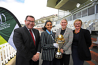 From left, NZ Minister for Sport and recreation Grant Robertson, Wellington Blaze and Student Lead of the Cricket Wellington Youth Leaders Programme Dhriti Girish, Cricket Wellington general manager and former White Fern Liz Green and ICC Women's Cricket World Cup chief executive Andrea Nelson. 2022 Women's Cricket World Cup tournament venues presser at the Basin Reserve in Wellington, New Zealand on Tuesday, 17 November 2020. Organisers for the 2022 Women's Cricket World Cup are welcoming a $2 million funding boost that will go towards upgrading player facilities at the five New Zealand venues for the tournament. Photo: Dave Lintott / lintottphoto.co.nz