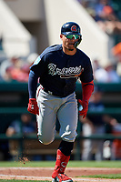 Atlanta Braves designated hitter William Contreras (85) runs to first base during a Grapefruit League Spring Training game against the Detroit Tigers on March 2, 2019 at Publix Field at Joker Marchant Stadium in Lakeland, Florida.  Tigers defeated the Braves 7-4.  (Mike Janes/Four Seam Images)