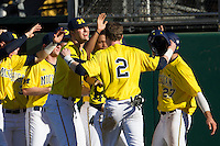 Michigan Wolverines third baseman Jacob Cronenworth (2) is greeted by his teammates after scoring in the first inning of the NCAA season opening baseball game against the Texas State Bobcats on February 14, 2014 at Bobcat Ballpark in San Marcos, Texas. Texas State defeated Michigan 8-7 in 10 innings. (Andrew Woolley/Four Seam Images)