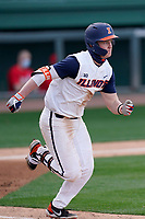 Third baseman Jackson Raper (14) of the Illinois Fighting Illini hustles down the first base line against the Ohio State Buckeyes on Friday, March 5, 2021, at Fluor Field at the West End in Greenville, South Carolina. (Tom Priddy/Four Seam Images)