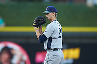 Wilmington Blue Rocks starting pitcher Brady Singer (26) looks to his catcher for the sign against the Winston-Salem Dash at BB&T Ballpark on April 16, 2019 in Winston-Salem, North Carolina. The Blue Rocks defeated the Dash 4-3. (Brian Westerholt/Four Seam Images)