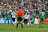 Gabriel Heinze of Argentina scores the opening goal