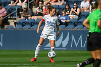 BRIDGEVIEW, IL - JULY 18: Lauren Barnes #3 of the OL Reign plays the ball during a game between OL Reign and Chicago Red Stars at SeatGeek Stadium on July 18, 2021 in Bridgeview, Illinois.
