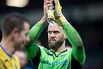 Dundee v St Johnstone…10.03.18…  Dens Park    SPFL<br />Alan Mannus applauds the saints fans at full time<br />Picture by Graeme Hart. <br />Copyright Perthshire Picture Agency<br />Tel: 01738 623350  Mobile: 07990 594431