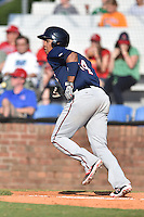 Johnson City Cardinals designated hitter Amaurys Minier (24) runs to first during a game against the Elizabethton Twins at Howard Johnson Field at Cardinal Park on June 26, 2016 in Johnson City, Tennessee. The Twins defeated the Cardinals 13-12. (Tony Farlow/Four Seam Images)