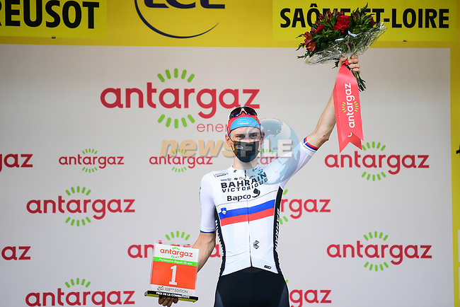 Slovenian Champion Matej Mohoric (SLO) Bahrain-Victorious from the breakaway wins Stage 7 and also the days combativity prize of the 2021 Tour de France, running 249.1km from Vierzon to Le Creusot, France. 2nd July 2021.  <br /> Picture: A.S.O./Pauline Ballet | Cyclefile<br /> <br /> All photos usage must carry mandatory copyright credit (© Cyclefile | A.S.O./Pauline Ballet)