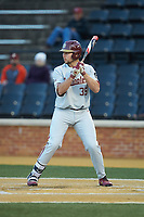 Cal Raleigh (35) of the Florida State Seminoles at bat against the Wake Forest Demon Deacons at David F. Couch Ballpark on March 9, 2018 in  Winston-Salem, North Carolina.  The Seminoles defeated the Demon Deacons 7-3.  (Brian Westerholt/Four Seam Images)